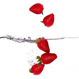 Fresas frescas que caen en agua en el fondo blanco Imagenes de archivo