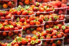 Fresas frescas, rojas en un mercado local de los granjeros en Barcelona España Fotos de archivo
