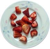 Fresas jugosas recientemente cortadas Imagen de archivo