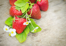 Fresas maduras dulces perfectas en fondo de madera Fotos de archivo