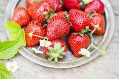Fresas maduras dulces perfectas en fondo de madera Imagenes de archivo