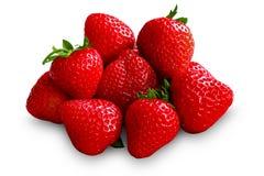 Fresas maduras, frescas, dulces en el fondo blanco, aislado Fotografía de archivo