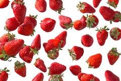 Fresas que caen Fotografía de archivo libre de regalías