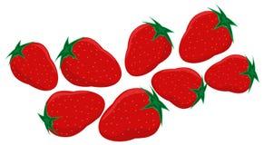 Fresas rojas con el pedúnculo en un fondo blanco imágenes de archivo libres de regalías
