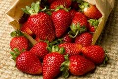 Fresas rojas maduras orgánicas en un bolso Imagen de archivo libre de regalías