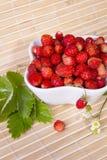Fresas salvajes en un pequeño cuenco Fotografía de archivo