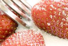 Fresas y azúcar Foto de archivo libre de regalías
