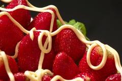 Fresas y crema Foto de archivo