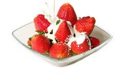 Fresas y crema Fotografía de archivo libre de regalías