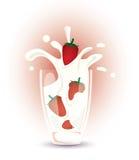 Fresas y leche Imágenes de archivo libres de regalías