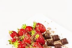 Fresas y pedazos de chocolate en el plato blanco aislado en el fondo blanco Ciérrese encima de la visión Fotografía de archivo