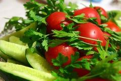 Fresch黄瓜、蕃茄和绿色 库存图片