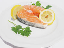 Fresch salmon. A healthy dish of fish to eat at home or at a restaurant Royalty Free Stock Photo
