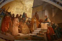 Fresco. At wall of achilleon palace, Corfu island, Greece royalty free stock image