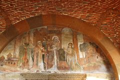 The fresco above the door of Church of Saint Gayane, Armenia royalty free stock photo