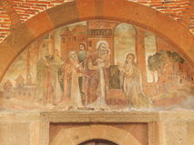 Fresco above the entrance to the church of Saint Gayane in Armenia. royalty free stock photography