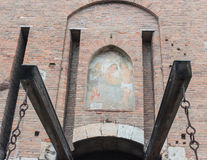 Fresco above lift bridge and entrance to Castelvecchio fortress Stock Image