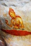 Fresco antigo na montagem Sigiriya, Sri Lanka imagem de stock