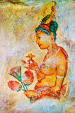 Fresco antigos na montagem Sigiriya, Ceilão Imagens de Stock Royalty Free
