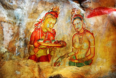 Fresco antiguo en el soporte Sigiriya, Sri Lanka Fotografía de archivo libre de regalías