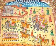 Fresco of army,Laxmi Nath Temple, Bikaner India royalty free stock image