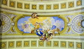 Fresco in the Austrian National Libary in Vienna Stock Photo