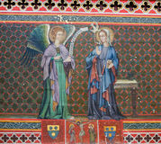 Fresco in Bayeux Cathedral - The Annunciation Stock Photos