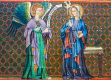 Fresco in Bayeux Cathedral - The Annunciation Stock Image