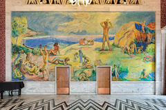 Fresco of beach life along the fjord in the Banquet Hall of Oslo City Hall, Norway. Fresco of beach life along the fjord by the Norwegian painter Willi Midelfart Stock Photography