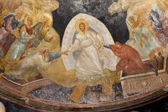 Fresco bizantino antigo de Jesus, de Adam e de véspera na igreja do chora de Saint em constantinople, ISTAMBUL, TURQUIA imagens de stock