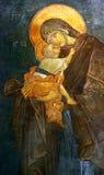 Fresco bizantino del niño de Maria y de Jesús, Estambul Foto de archivo