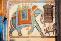 Fresco bonito no haveli antigo de Mandawa, Índia Fotografia de Stock Royalty Free