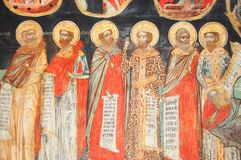 Fresco in bulgarian monastery. Fresco of christian saints in monastery in Veliko Tarnovo,Bulgaria Stock Image
