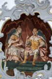 Fresco on the ceiling of the Church of Our Lady of Sorrows in Rosenberg, Germany.  royalty free stock photos