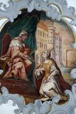 Fresco on the ceiling of the Church of Our Lady of Sorrows in Rosenberg, Germany.  royalty free stock images