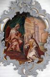 Fresco on the ceiling of the Church of Our Lady of Sorrows in Rosenberg, Germany.  royalty free stock photo