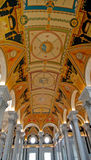 Fresco Ceiling Corinthian Cols. Ornate freso ceiling with Corinthian marble columns in Library of Congress, Washington, DC Royalty Free Stock Images