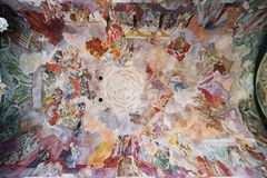 Fresco on the ceiling of the Our Lady church in Aschaffenburg, Germany.  royalty free stock photos
