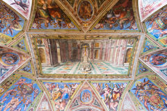 Fresco on the ceiling in the Vatican Museum. Rome. Royalty Free Stock Image