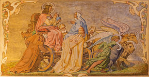 Fresco of Christ the Pantokrator on the cart and four big west teacher of catholic church Royalty Free Stock Photo