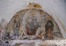Fresco of Christ, the Virgin and John the Baptist in La Chiesa Di Lama D& x27;Antico, Parco Rupestre Lama D`Antico. Pictured is a fresco of the Deesis in an Stock Photo