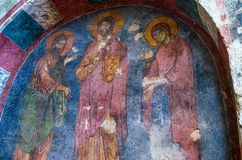 Fresco in the Church of St. Nicholas Stock Photo