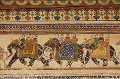 A fresco in the city of Mandawa. A hand painted fresco is painted on the wall of a Haveli in Mandawa, India royalty free stock photos