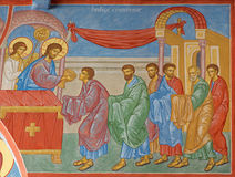 Fresco of the Communion of the apostle scene in st. Constanstine and Helena orthodx church Royalty Free Stock Photography