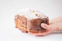 Fresco cozeu o pão caseiro ou o bolo espanado com açúcar nas mãos de uma mulher Em um fundo branco fotografia de stock