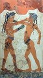 Fresco de Akrotiri, Santorini dos meninos do encaixotamento, 1550 BC fotografia de stock