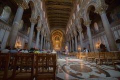 Fresco de Cristo dentro de la catedral de Monreale cerca de Palermo Foto de archivo