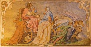 Fresco de Cristo el Pantokrator en el carro y el profesor del oeste grande cuatro de la iglesia católica Foto de archivo libre de regalías