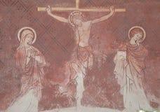 Fresco de Jesus na cruz Fotografia de Stock