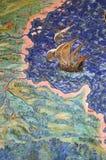 Fresco de la correspondencia geográfica vieja Imágenes de archivo libres de regalías